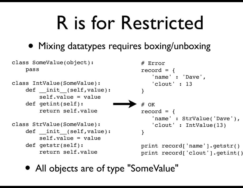 R is for Restricted • Mixing datatypes requires...