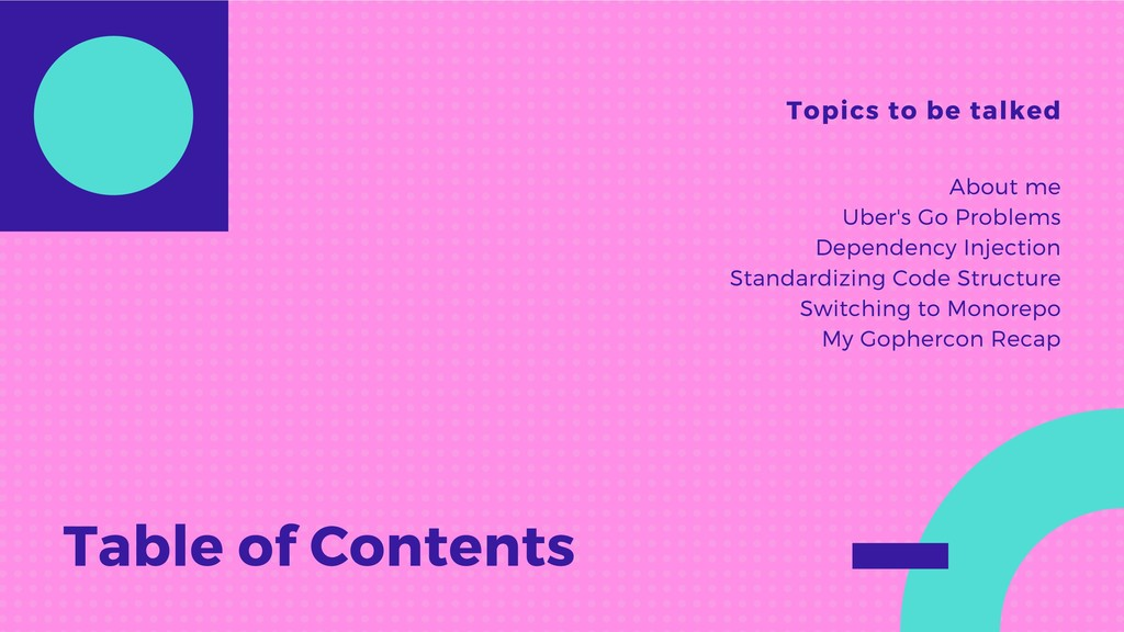 Table of Contents Topics to be talked About me ...
