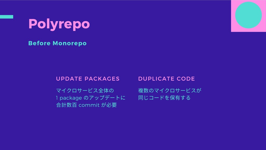 Polyrepo Before Monorepo UPDATE PACKAGES マイクロサー...