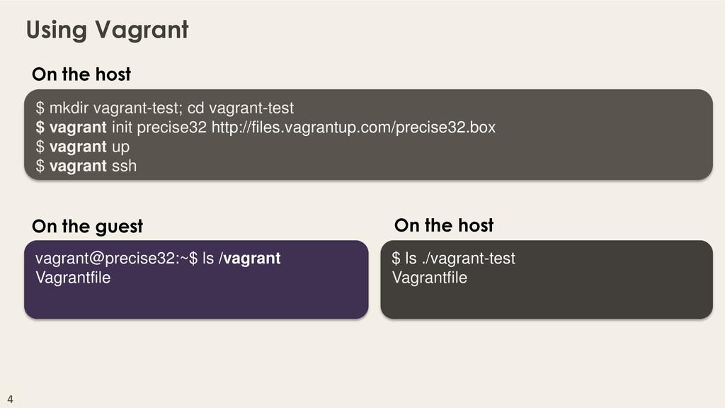 4 milestone42 Using Vagrant $ mkdir vagrant-tes...