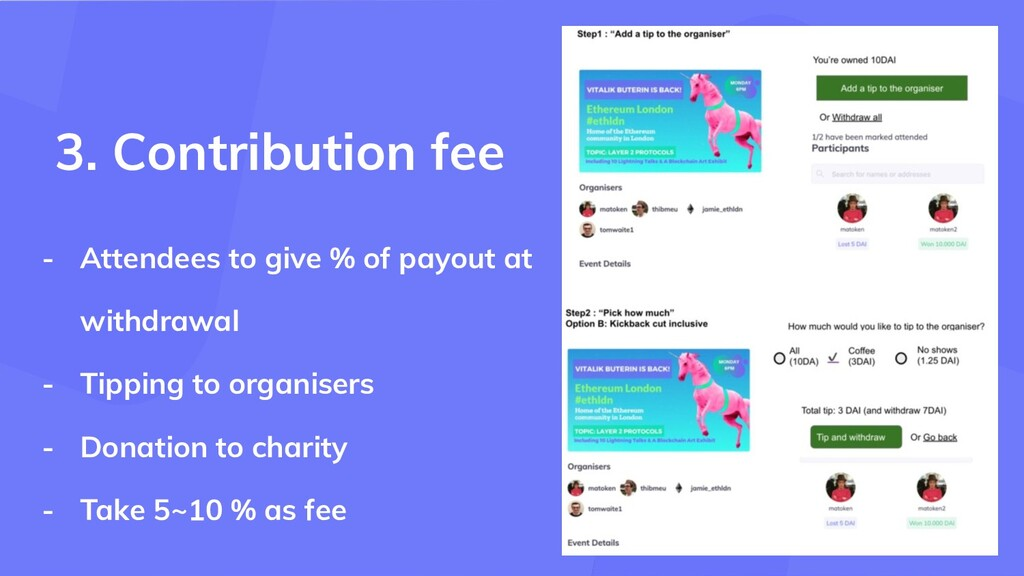 - Attendees to give % of payout at withdrawal -...