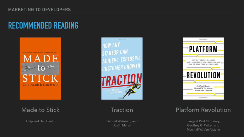 MARKETING TO DEVELOPERS RECOMMENDED READING Pla...