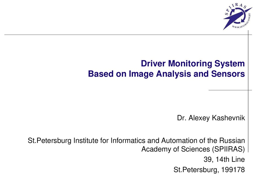 Driver Monitoring System Based on Image Analysi...