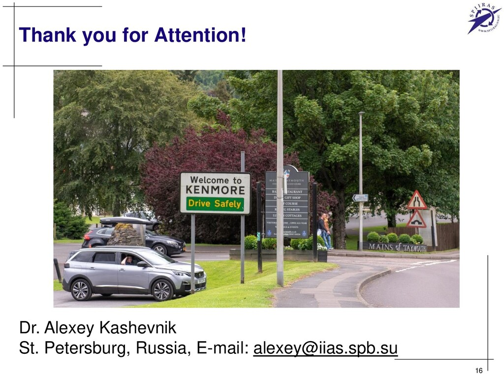 Thank you for Attention! 16 Dr. Alexey Kashevni...