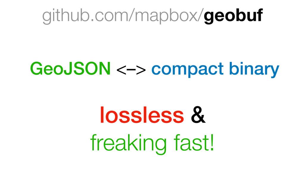 github.com/mapbox/geobuf GeoJSON <–> compact bi...