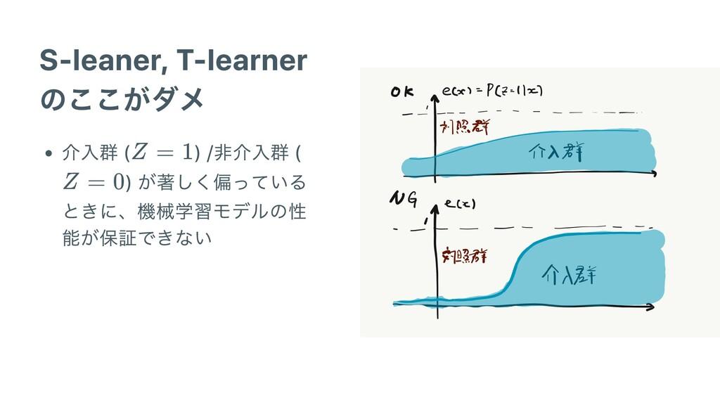 S-leaner, T-learner のここがダメ 介⼊群 ( ) /⾮介⼊群 ( ) が著...