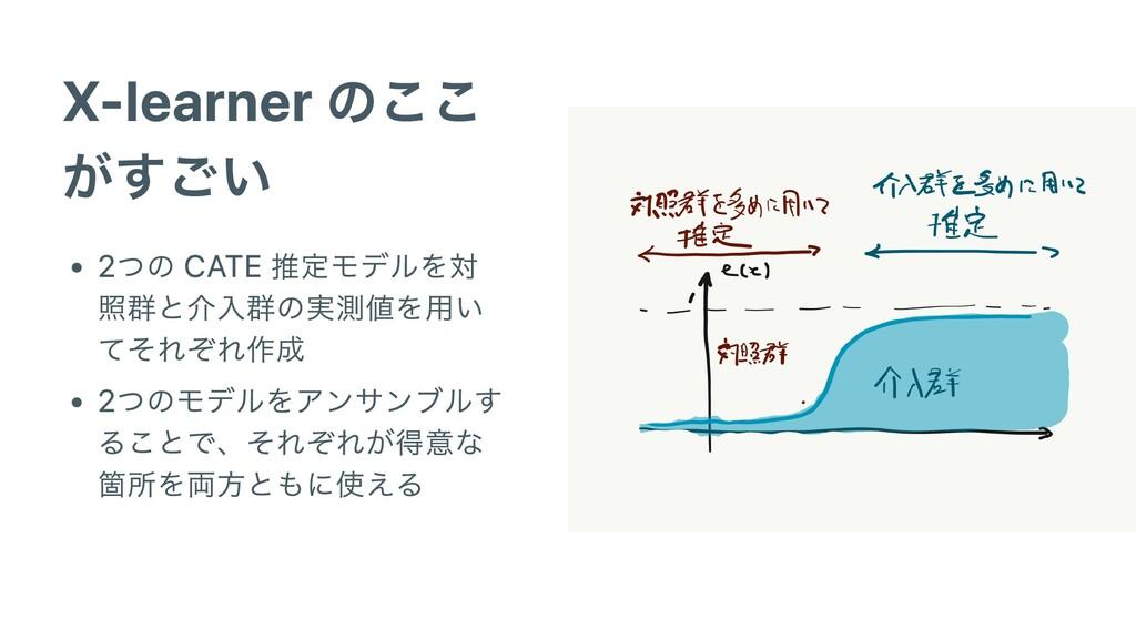 X-learner のここ がすごい 2つの CATE 推定モデルを対 照群と介⼊群の実測値を...