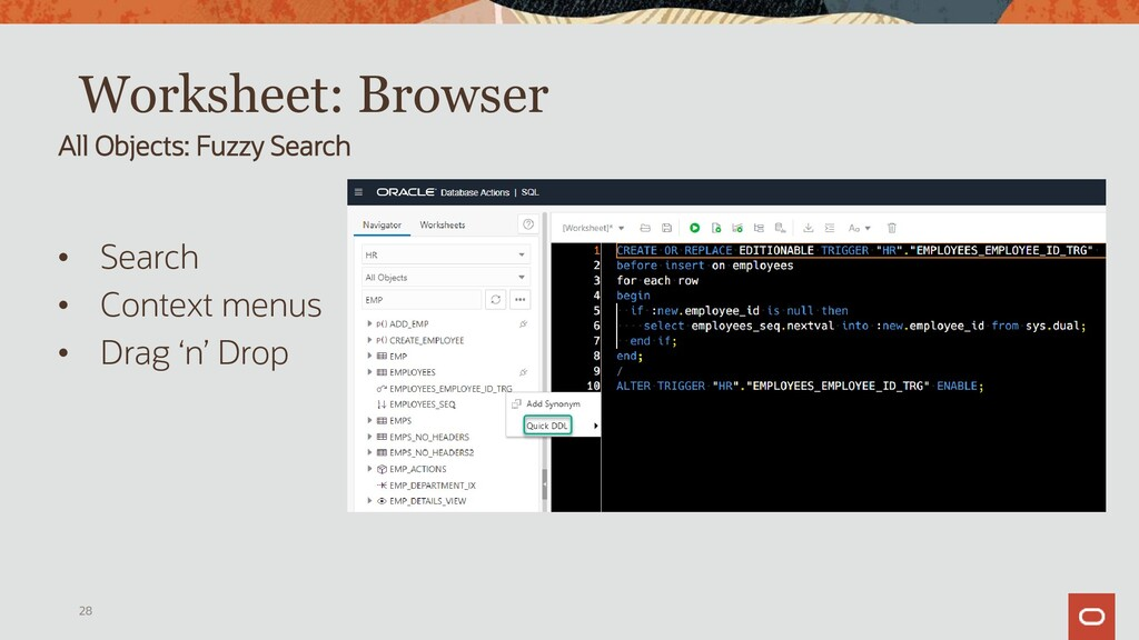 Worksheet: Browser PL/SQL – Browse and Generate...