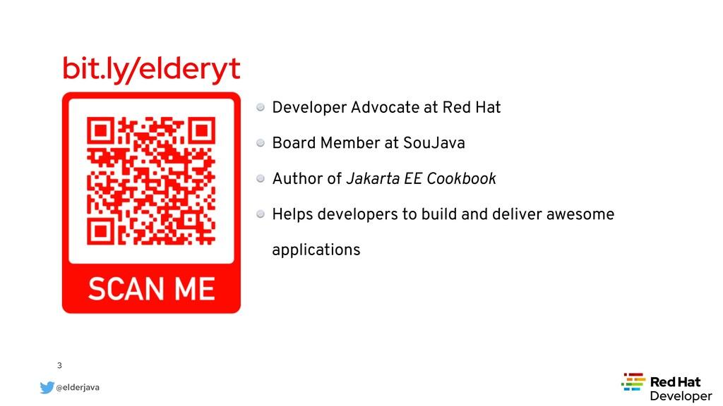 @elderjava 3 bit.ly/elderyt Developer Advocate ...
