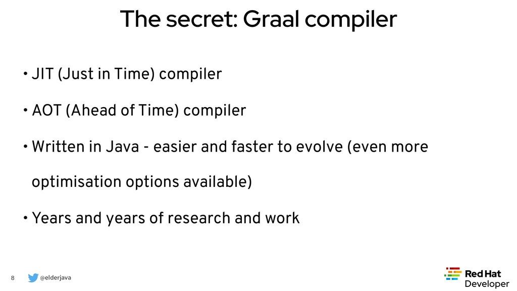@elderjava 8 The secret: Graal compiler • JIT (...