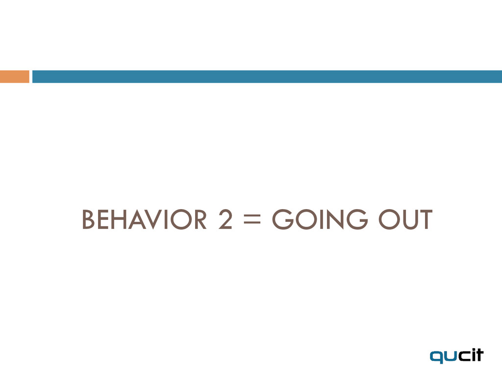 BEHAVIOR 2 = GOING OUT