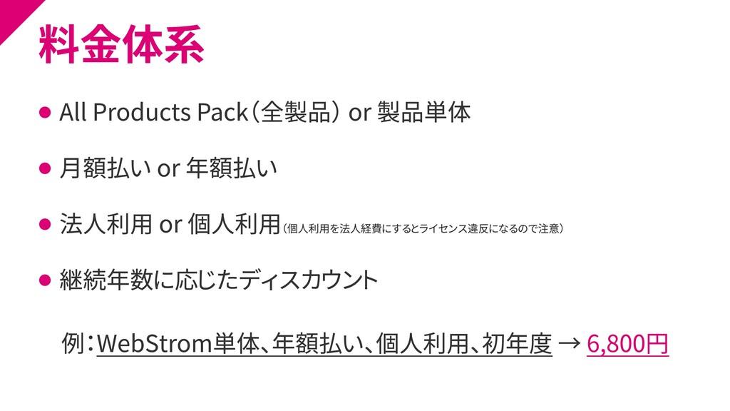 料金体系 ⚫ All Products Pack(全製品) or 製品単体 ⚫ 月額払い or...