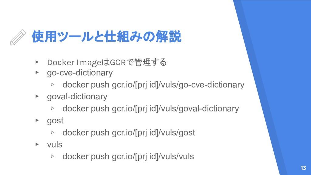 使用ツールと仕組みの解説 ▸ Docker ImageはGCRで管理する ▸ go-cve-d...