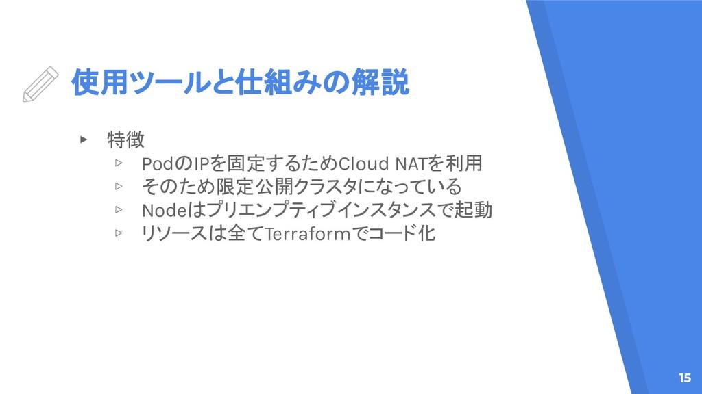 使用ツールと仕組みの解説 ▸ 特徴 ▹ PodのIPを固定するためCloud NATを利用 ▹...