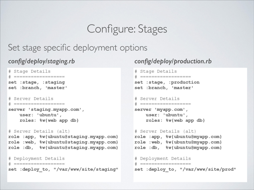 Configure: Stages Set stage specific deployment o...
