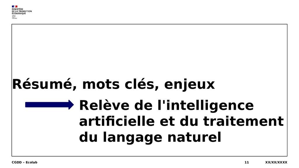 Résumé, mots clés, enjeux XX/XX/XXXX CGDD – Eco...