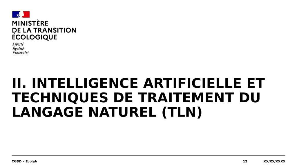 II. INTELLIGENCE ARTIFICIELLE ET TECHNIQUES DE ...