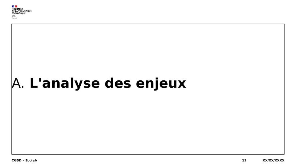 A. L'analyse des enjeux XX/XX/XXXX CGDD – Ecola...