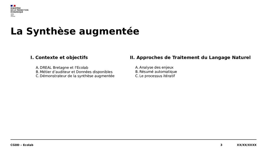 La Synthèse augmentée XX/XX/XXXX CGDD – Ecolab ...
