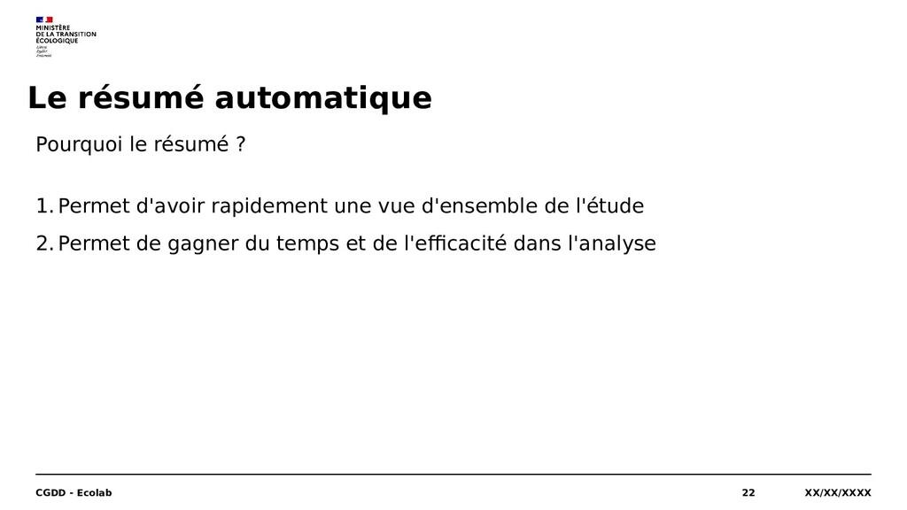 Le résumé automatique XX/XX/XXXX CGDD - Ecolab ...
