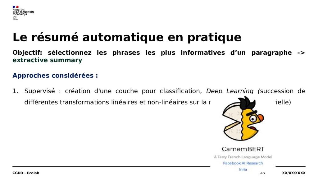 Le résumé automatique en pratique XX/XX/XXXX CG...