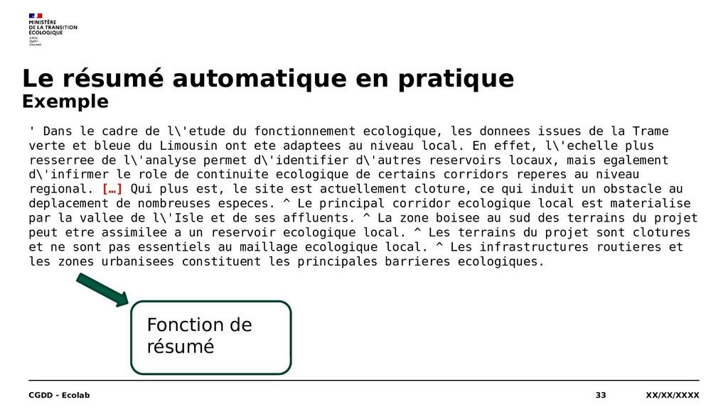 Le résumé automatique en pratique Exemple XX/XX...
