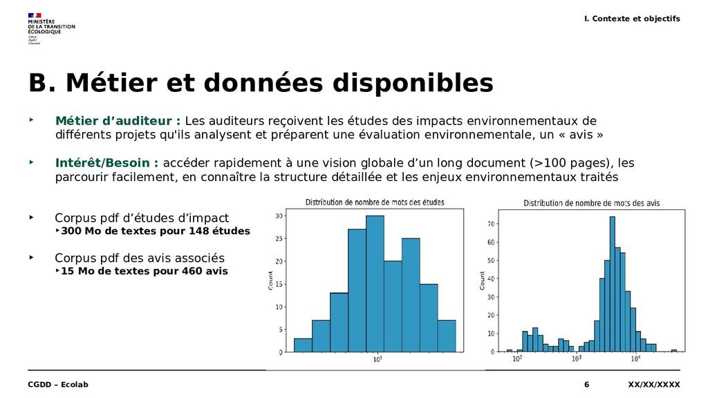 XX/XX/XXXX CGDD – Ecolab 6 B. Métier et données...