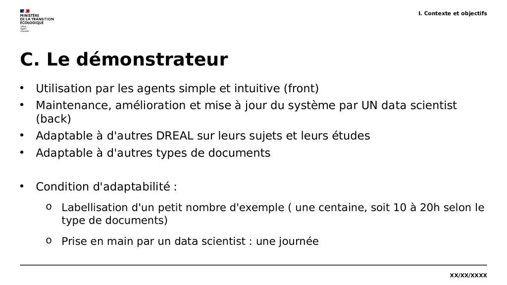 XX/XX/XXXX C. Le démonstrateur • Utilisation pa...