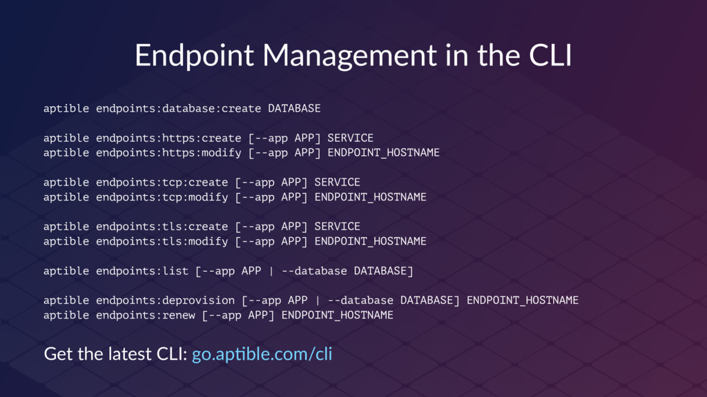 Endpoint Management in the CLI aptible endpoint...