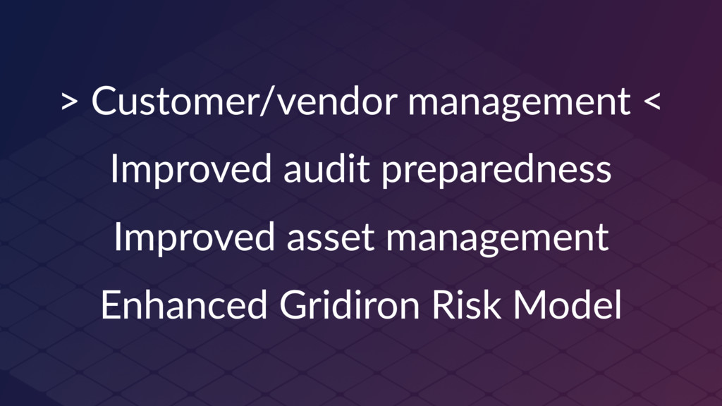 > Customer/vendor management < Improved audit p...