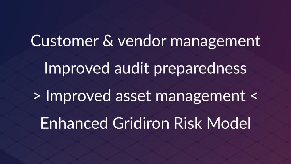 Customer & vendor management Improved audit pre...