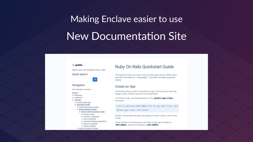 Making Enclave easier to use New Documenta-on S...