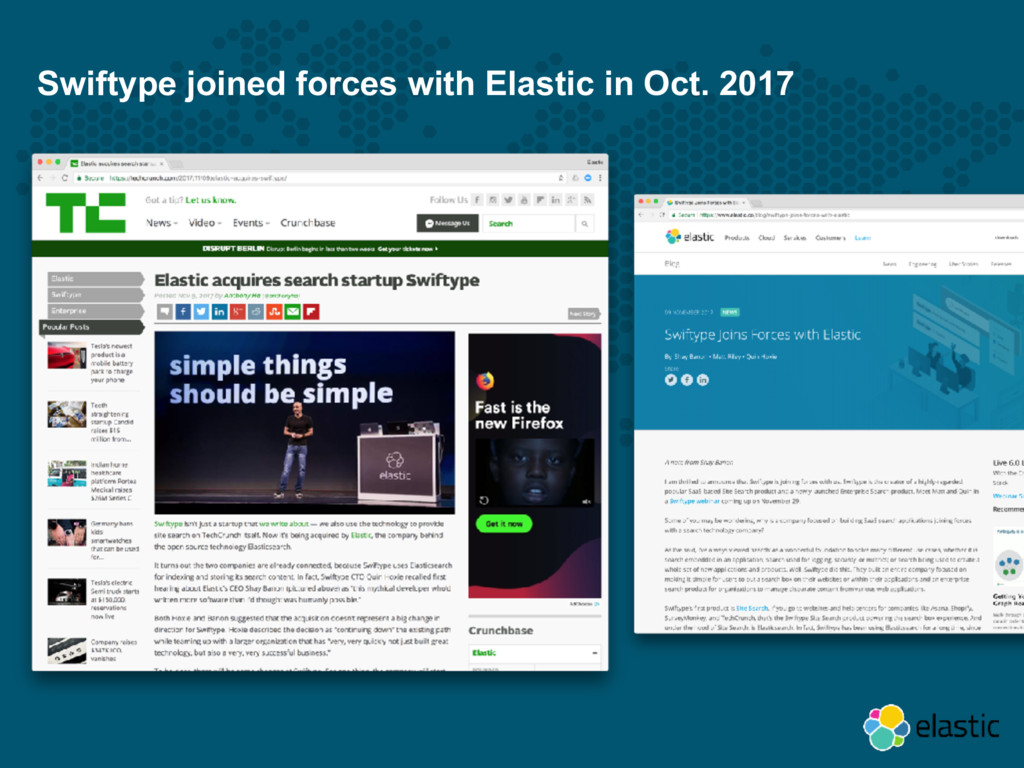 Swiftype joined forces with Elastic in Oct. 2017