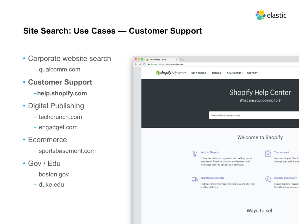 Site Search: Use Cases — Customer Support • Cor...