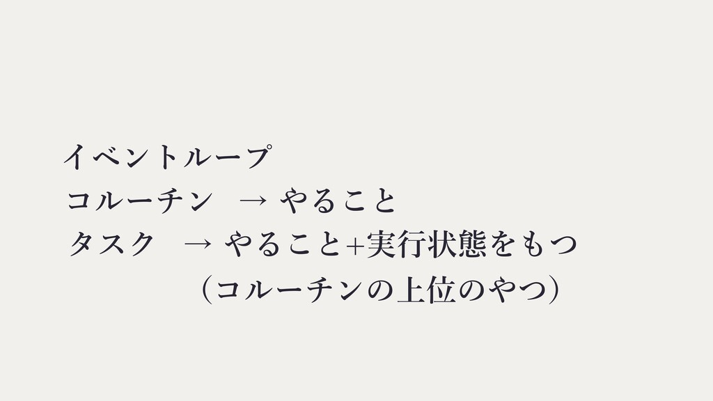 コルーチン イベントループ タスク → やること → やること+実⾏状態をもつ (コルーチンの...