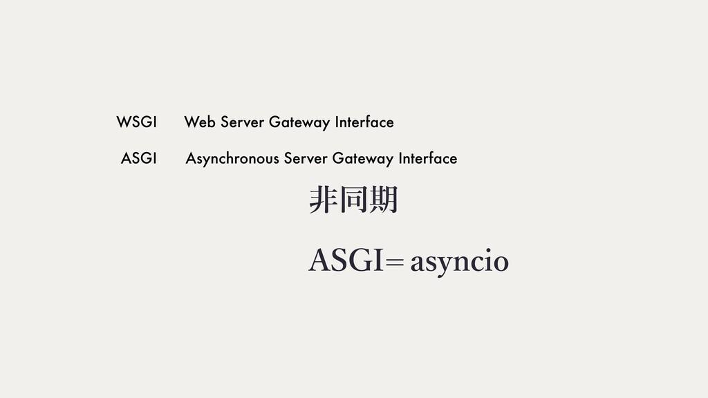 WSGI Web Server Gateway Interface ASGI Asynchro...