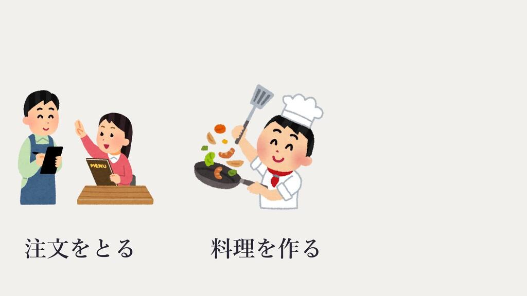 料理を作る 注⽂をとる