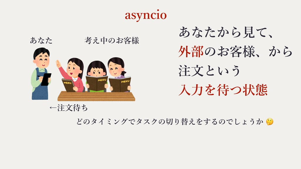 asyncio どのタイミングでタスクの切り替えをするのでしょうか 🤔 あなた 考え中のお客様...