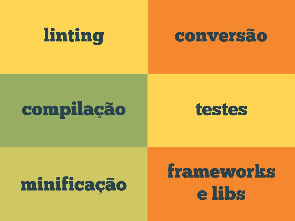 conversão frameworks e libs compilação linting ...