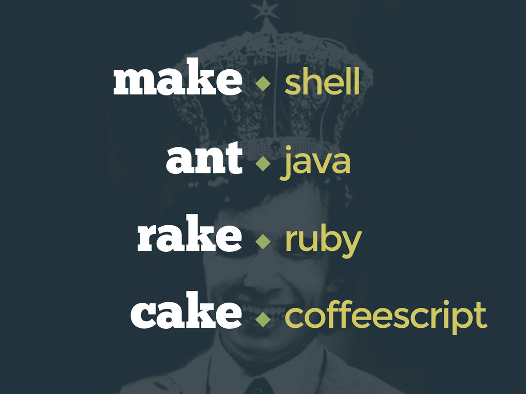 ant java make shell cake coffeescript rake ruby