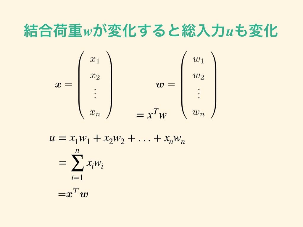 ݁߹ՙॏw͕มԽ͢Δͱ૯ೖྗuมԽ u = x1 w1 + x2 w2 + . . . + ...