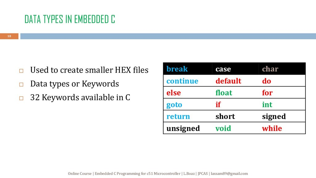 DATA TYPES IN EMBEDDED C  Used to create small...