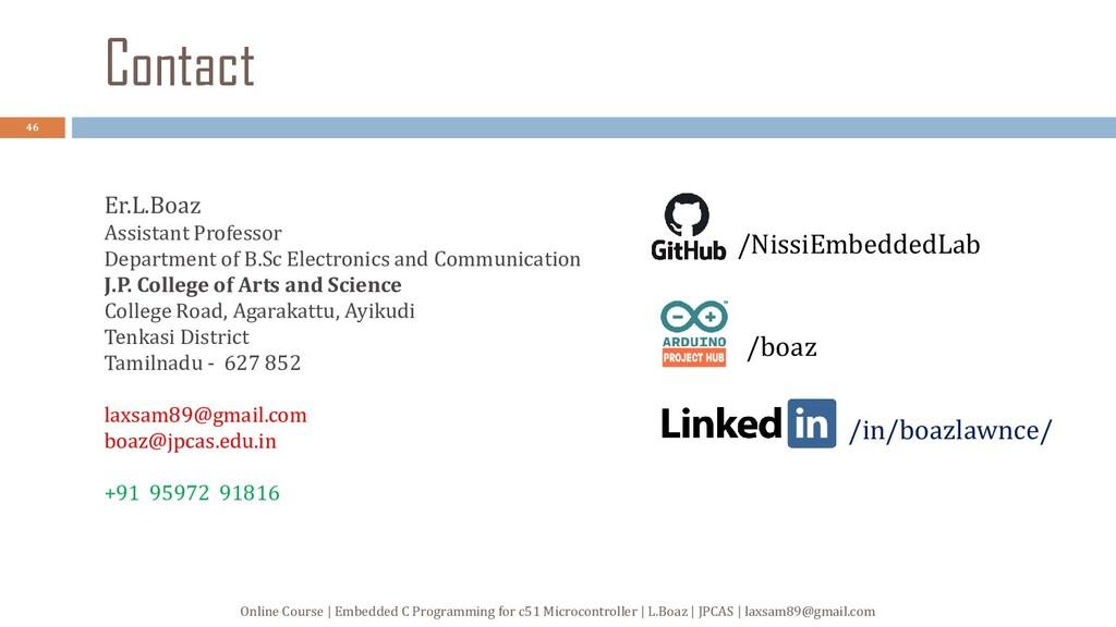 Contact Er.L.Boaz Assistant Professor Departmen...