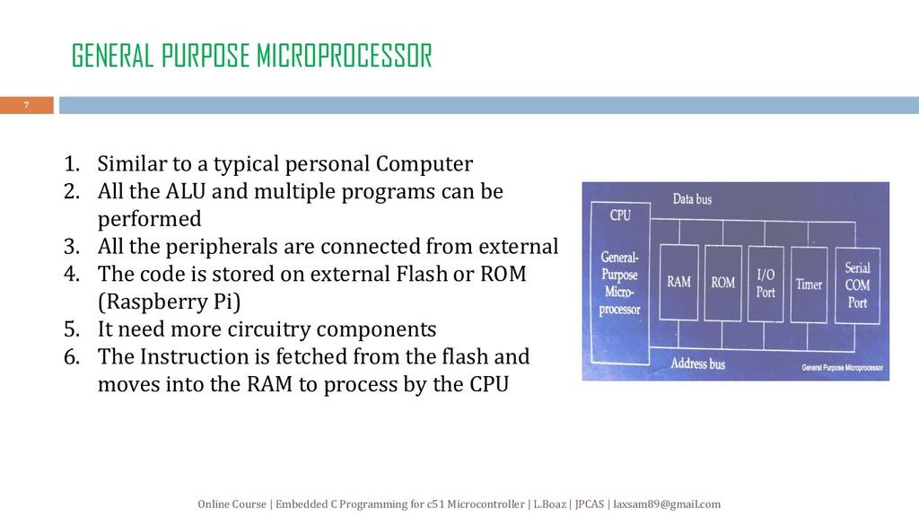 GENERAL PURPOSE MICROPROCESSOR 1. Similar to a ...
