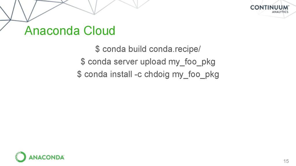 15 Anaconda Cloud $ conda build conda.recipe/ $...