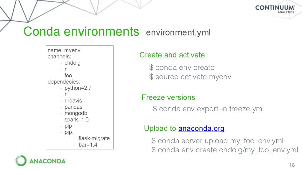 18 Conda environments name: myenv channels: - c...