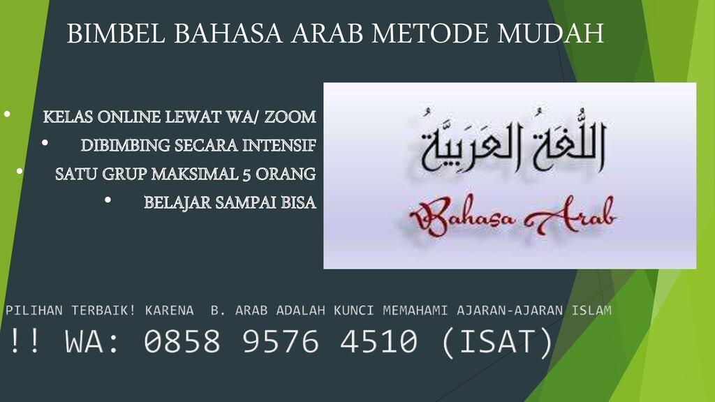BIMBEL BAHASA ARAB METODE MUDAH • KELAS ONLINE ...