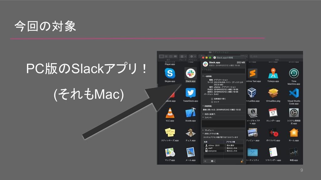 9 今回の対象 PC版のSlackアプリ! (それもMac)