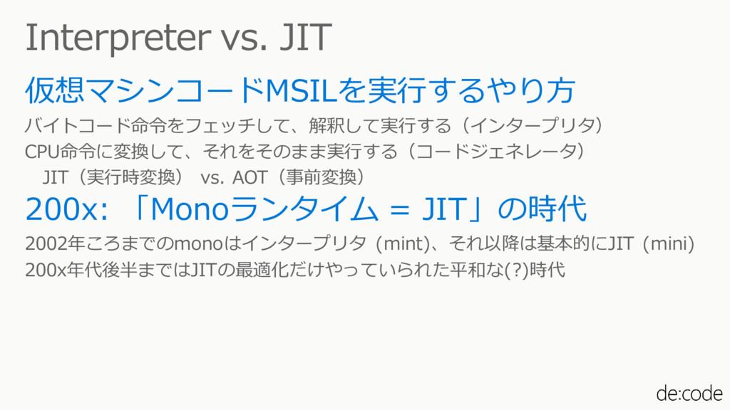 Interpreter vs. JIT 仮想マシンコードMSILを実行するやり方 バイトコード...