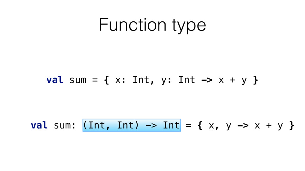 Function type val sum = { x: Int, y: Int -> x +...